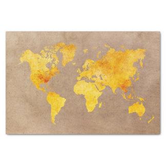 Papel De Seda amarelo do mapa do mundo