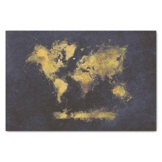 Papel De Seda amarelo preto do mapa do mundo