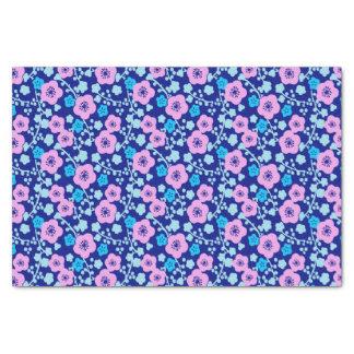 Papel De Seda Ameixa japonesa rica do teste padrão floral azul e