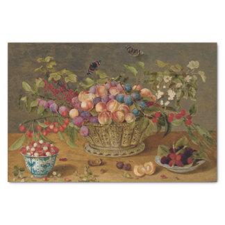 Papel De Seda Ameixas, abricós, cerejas e corintos em uma cesta