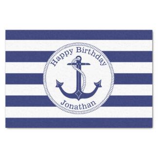 Papel De Seda Âncora náutica aniversário personalizado
