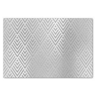 Papel De Seda Art deco metálico de Chevron das cinzas de prata