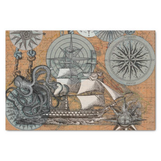 Papel De Seda Arte náutica do navio do polvo do vintage do rosa
