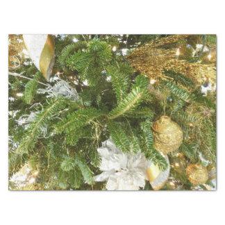 Papel De Seda Árvore de Natal da prata e do ouro mim feriado