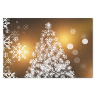 Papel De Seda Árvore dourada do floco de neve de Bokeh do Natal
