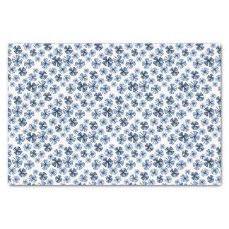 Papel De Seda Azul afortunado do trevo do trevo