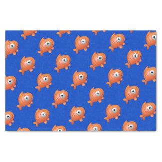 Papel De Seda Azul escuro com os peixes alaranjados sob o
