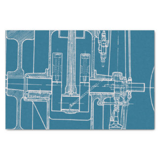 Papel De Seda Azul fabuloso e branco do modelo do desenho