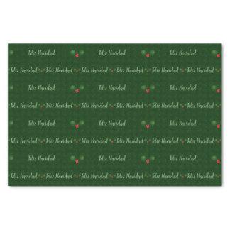Papel De Seda Bagas do azevinho de Feliz Navidad do guingão