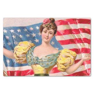 Papel De Seda Bandeira americana da senhora Liberdade