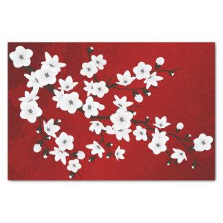 Papel De Seda Branco vermelho do preto floral das flores de