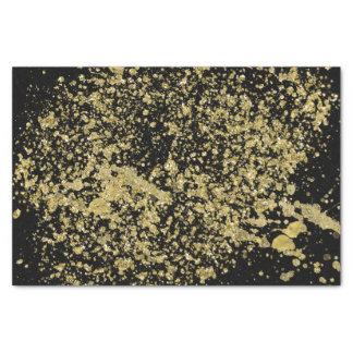 Papel De Seda Brilho impresso ouro do falso do Splatter no preto