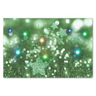 Papel De Seda Brilho verde do falso de Bokeh & estrelas de