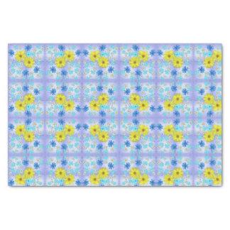 Papel De Seda Buquê da flor do país no azul e no amarelo