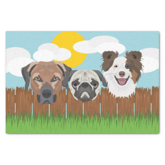 Papel De Seda Cães afortunados da ilustração em uma cerca de