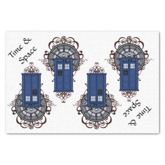 Papel De Seda Caixa britânica azul Steampunk do tempo & do