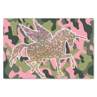Papel De Seda Camuflagem de Camo & unicórnio verdes cor-de-rosa