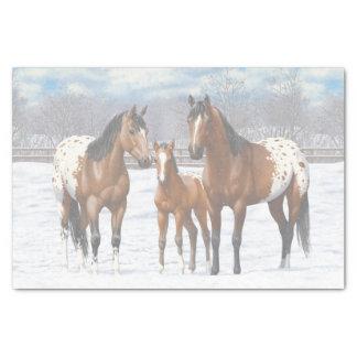 Papel De Seda Cavalos do Appaloosa da baía na neve