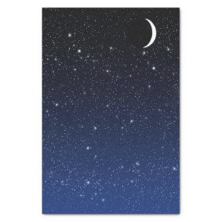 Papel De Seda Céu estrelado e lua do crescente, azul profundo a