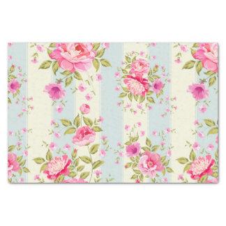 Papel De Seda Chique, floral, vintage, rosa, azul, creame, na