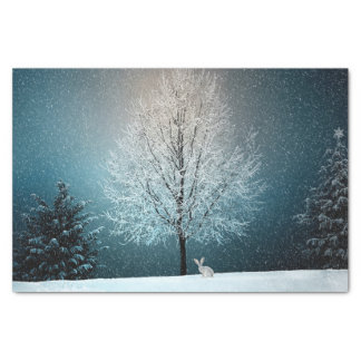 Papel De Seda Coelho da neve da paisagem da neve do inverno