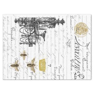 Papel De Seda Colagem do tecido de Decoupage de três abelhas do