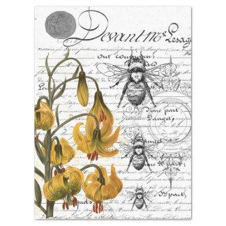 Papel De Seda Colagem floral da abelha