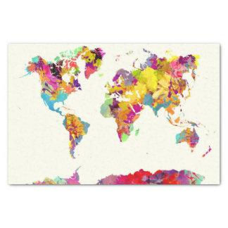 Papel De Seda cores do mapa do mundo