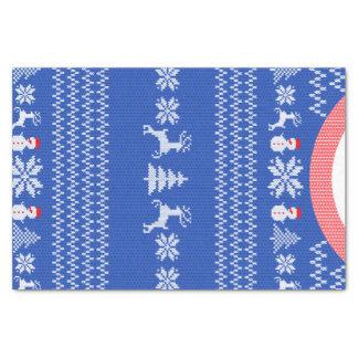 Papel De Seda Costume azul da camisola do feriado do Natal do
