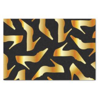 Papel De Seda Design do teste padrão dos saltos altos do ouro