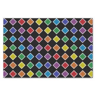 Papel De Seda Diamantes estáticos esboçados branco do arco-íris