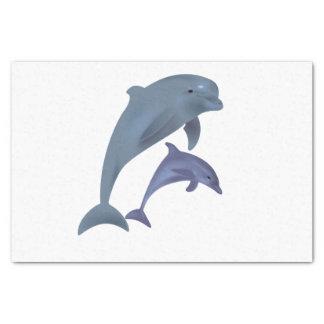 Papel De Seda Dois golfinhos tropicais que saltam ao lado de se