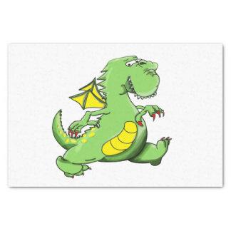 Papel De Seda Dragão verde dos desenhos animados que anda em