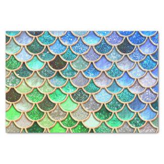 Papel De Seda Escalas brilhantes azuis verdes da sereia do