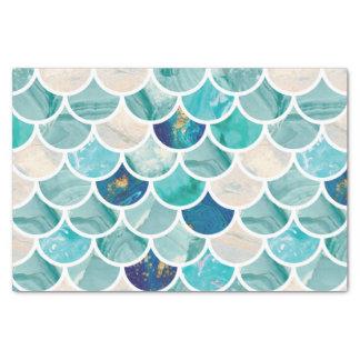 Papel De Seda Escalas de peixes da sereia do mármore de turquesa