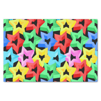 Papel De Seda Estrelas 3D coloridas