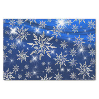 Papel De Seda Estrelas azuis do Natal com o cristal de gelo