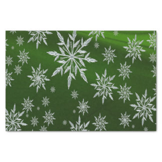 Papel De Seda Estrelas verdes do Natal com o cristal de gelo