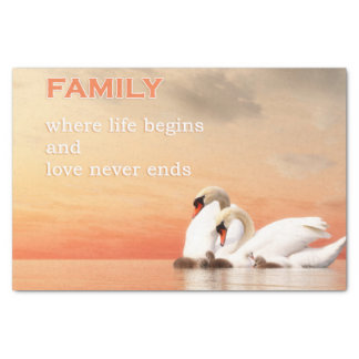 Papel De Seda Família da cisne