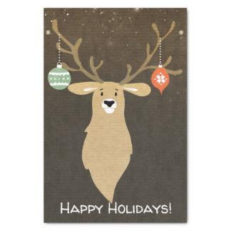 Papel De Seda Festa natalícia rústica moderna dos cervos do