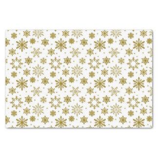 Papel De Seda Flocos de neve dourados