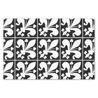 Papel De Seda Flor de lis preto e branco elegante