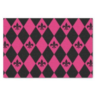 Papel De Seda Flor de lis & teste padrão cor-de-rosa do carvão
