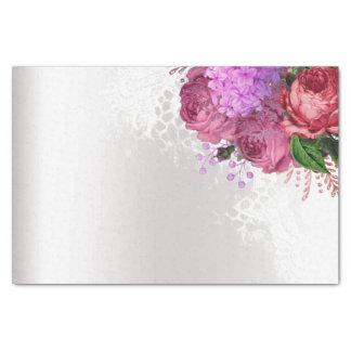 Papel De Seda Floral de prata cinzento da peônia verde do rosa