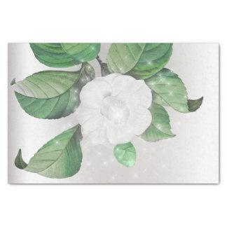 Papel De Seda Floral de prata cinzento Sparkly verde da flor