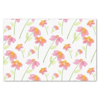 Papel De Seda Flores cor-de-rosa da aguarela do amarelo do