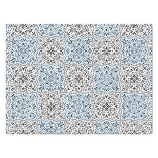 Papel De Seda Flourish Rococo azul do teste padrão