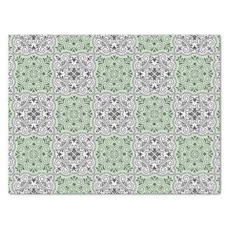 Papel De Seda Flourish Rococo verde do teste padrão