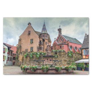 Papel De Seda Fonte de Santo-Leon em Eguisheim, Alsácia, France
