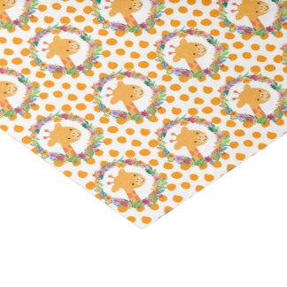 Papel De Seda Girafa bonito com uma grinalda floral em pontos